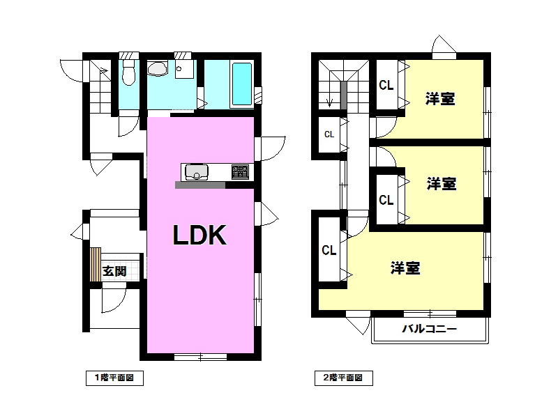 大島町/中古住宅/7.5kwの太陽光発電付き築浅住宅/間取図