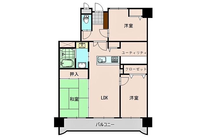 3部屋がバルコニー側に面しており明るい室内です。