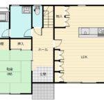 1階は玄関ホールを中心に、リビングと和室を分けています。