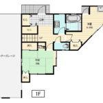 敷地の形状に合わせた特徴的な間取りです。