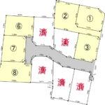 大塚町にある11区画分譲地。上下水道の引き込みと実測を行ってお引き渡しいたします。