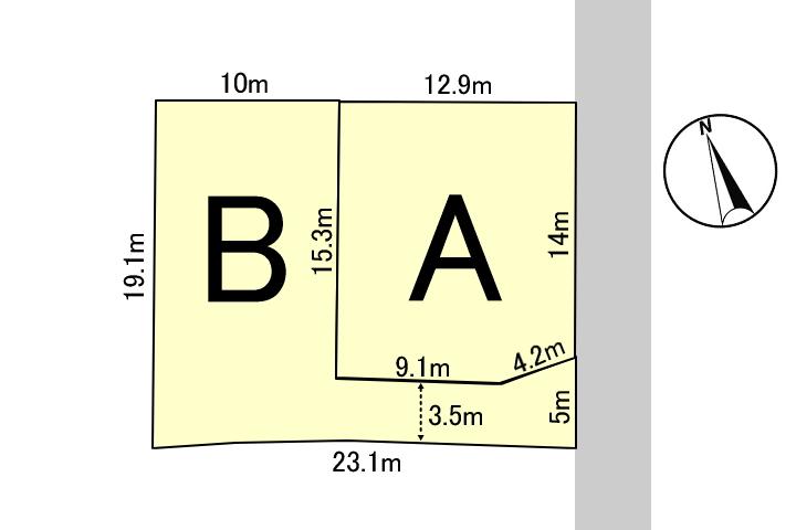 2区画販売のB号地。実測と上水道、下水道の引き込み工事を行ってお引き渡しいたします。
