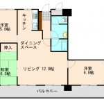 3LDK。3部屋がバルコニー側に面しており明るい室内です。